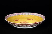 日本回流大清道光年制粉彩描金五福拱寿图案盘俯拍图