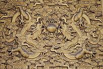 双龙戏珠纹理图案背景