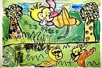 水彩动物卡通画