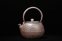 日本回流明治时期带款编织纹圆形铁壶左正图