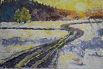 日出的雪景