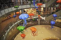 商场中庭美陈景观雕塑彩色水母