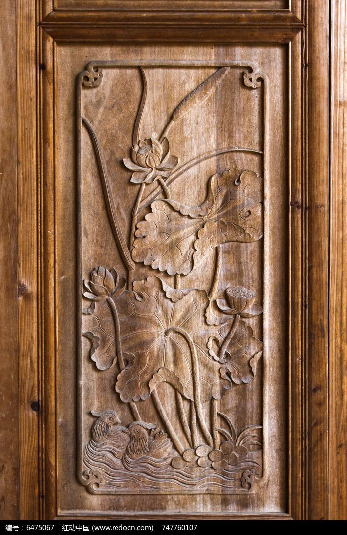 木雕 荷塘戏水鸳鸯图片