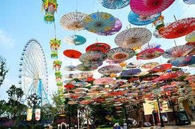 游乐园油纸伞主题景观氛围