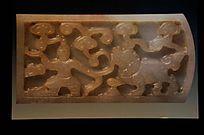 明(1368-1644)青玉戏狮纹带板