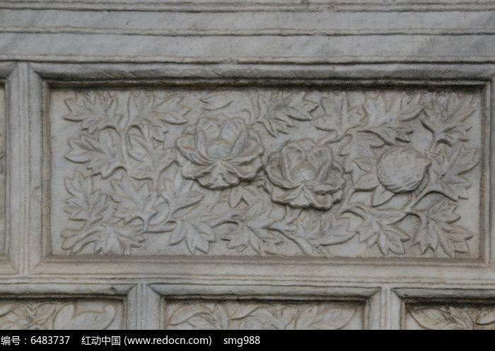 五塔寺石刻浮雕菊花花叶纹