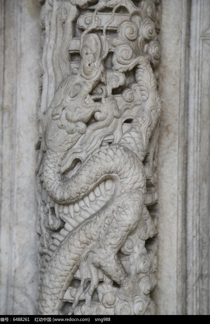 五塔寺石刻龙纹柱雕