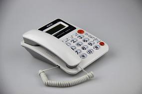 白色坐机电话