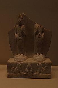 白石双观音菩萨立像