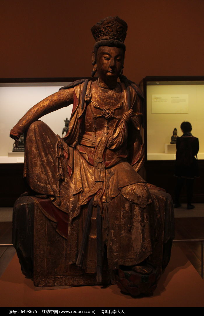 彩绘漆金木雕菩萨坐像图片,高清大图_雕刻艺术素材