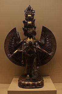 鎏金铜千手千眼观音菩萨立像
