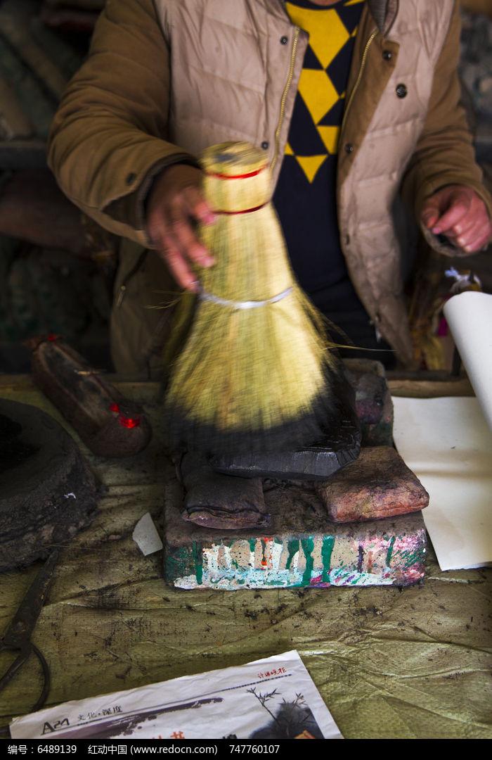 木板年画 手工毛刷踏濹图片