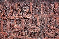 远古渔猎民族织渔网浮雕