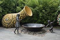 酒瓶酒碗童趣雕塑