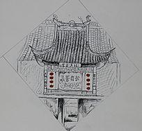 西塘古镇戏台速写