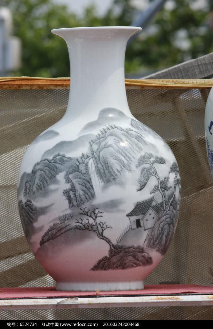 彩绘灰图案花瓶图片