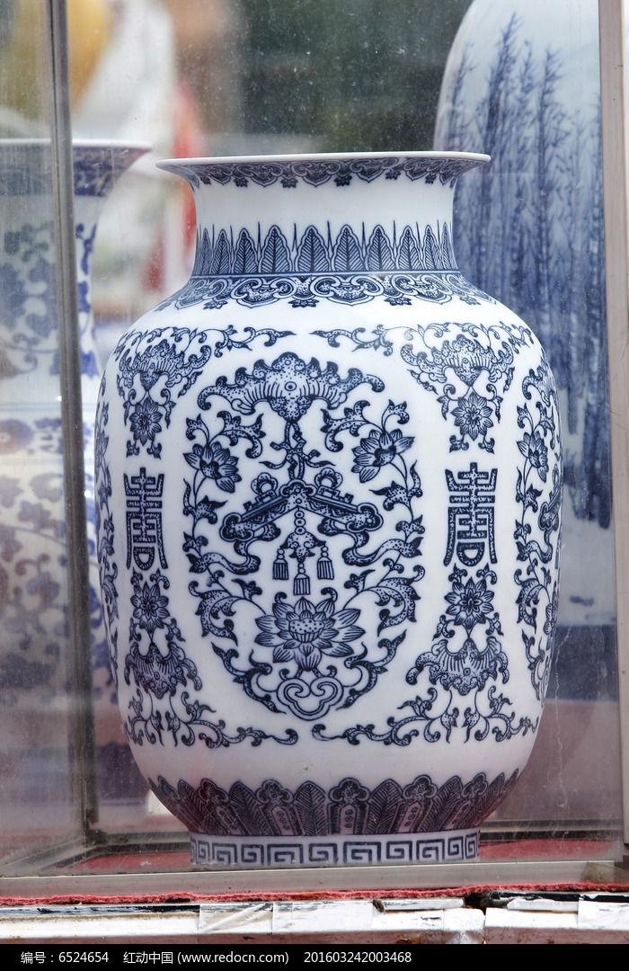 古典彩绘花纹图案花瓶