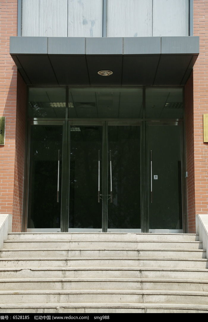 黑色金属边框四开玻璃大门