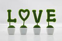 仿真植物love字体盆栽装饰