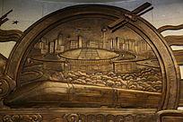 北京南站和动车图案铜雕