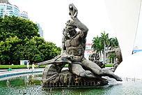 海马人像雕像
