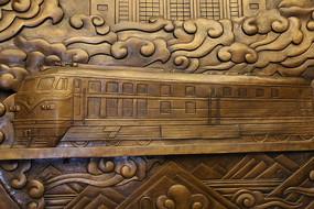 内燃机火车图案的铜雕