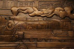 蒸汽机火车图案的铜雕