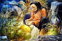 乡村老奶奶油画