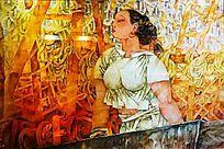 乡村妇女油画