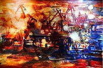 渔船抽象油画