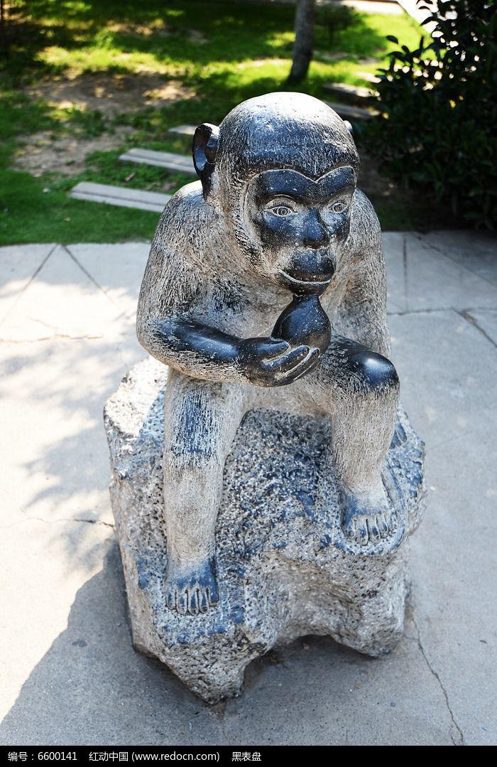 石雕猴子吃桃高清图片下载 编号6600141 红动网