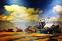 渔船风景油画