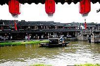 西塘古镇水上交通 乌篷船