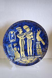 古埃及法老图案装饰盘