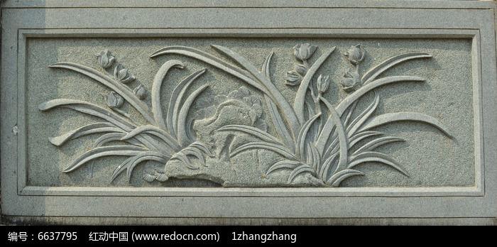 兰花浮雕图片,高清大图 雕刻艺术素材图片