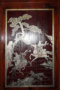 战场人物绘画-木版画