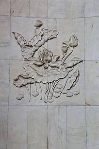 壁刻荷叶荷花纹雕刻