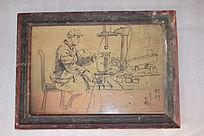 车间工人-旧相框装饰