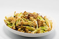 老腊肉炒菜花