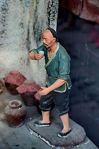 泥塑古代二锅头制作工艺品酒