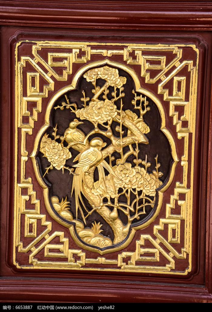 喜上梅枝木雕窗图片