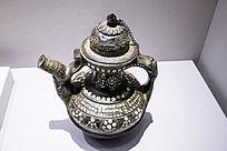 藏族嵌瓷片黑陶茶壶