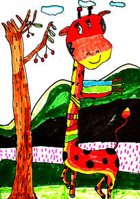 长颈鹿儿童水彩画