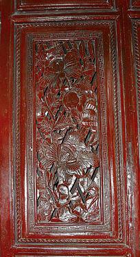 传统花纹雕刻-花朵图案木雕