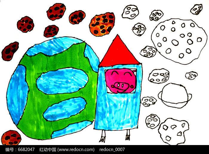 火箭飞向宇宙儿童画图片图片