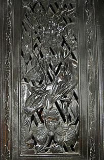 镂空窗棂-花朵图案木雕