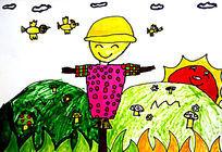 农田里的稻草人儿童画