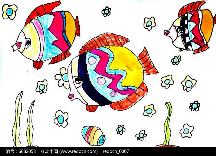 水里的彩色小鱼儿童画图片,高清大图_插画绘画素材图片
