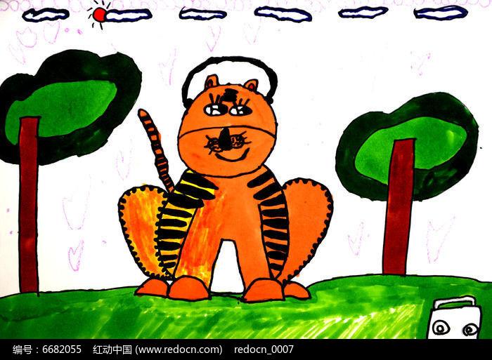 威风凛凛的老虎儿童画
