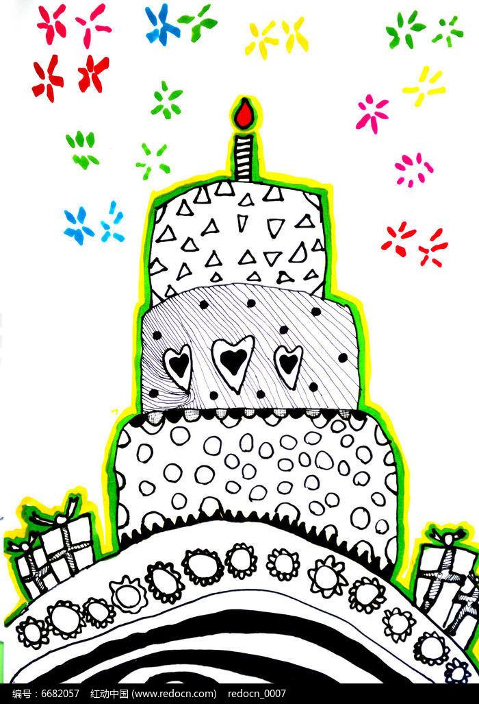 线描黑白蛋糕儿童画